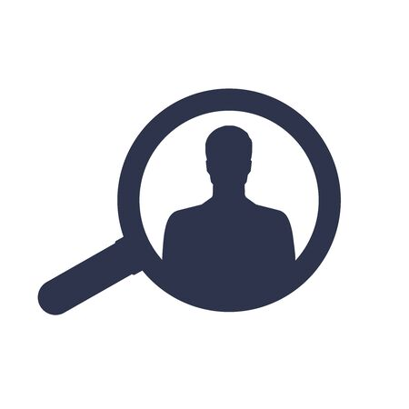 flat vector image on white background, icon of man in business suit and magnifier, search professional