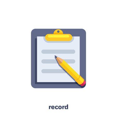 płaska grafika wektorowa na białym tle, tablet z kartką papieru i ołówkiem, dokumentacja biznesowa lub dokument