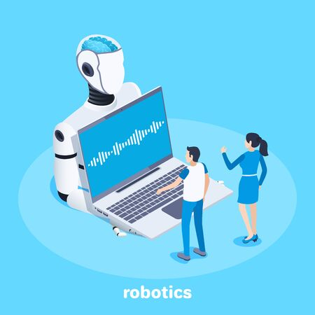 isometric vector image on a blue background, robotics development, a robot holds a laptop and a man and a woman are standing in front of him, communicating with artificial intelligence