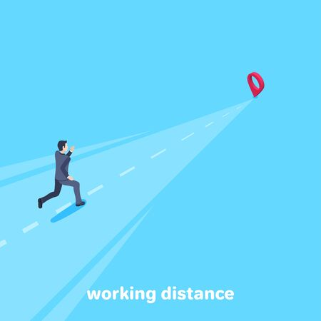 isometric vector image on a blue background, a man in a business suit runs along a long way to the location icon, the path to success