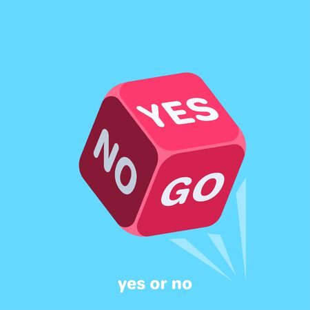 tossed red dice with the words yes and no, isometric vector image on a blue background