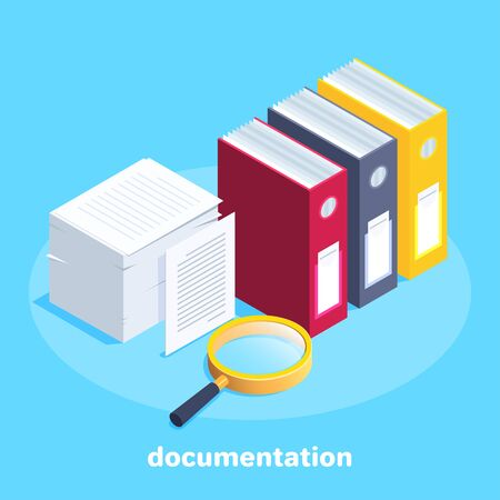 isometric vector image on a blue background, business concept, a stack of working papers and folders with documentation and a magnifying glass lies next to it