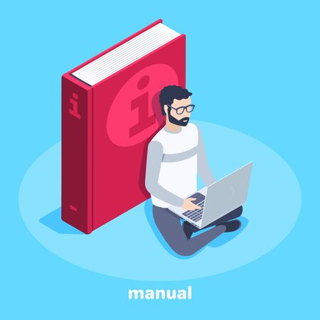 isometric vector image on a blue background, business concept, a man in glasses sits near a big book and reads information in a laptop