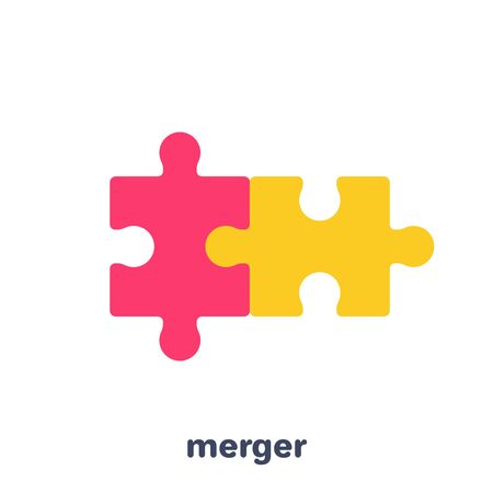 flat vector image on a white background, business icon, two pieces of a puzzle merged, merging in a business Vecteurs