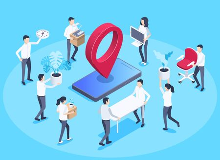isometric vector image on a blue background, business concept, men and women carry office stuff, moving the office to another place