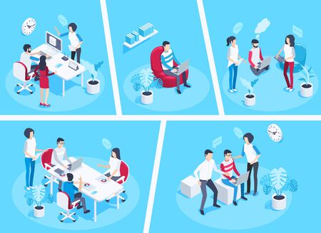 isometric vector image on a blue background, men and a woman in the office hold a briefing, a large office desk, a poster with diagrams and a flower in a pot