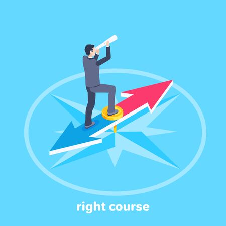 isometric vector image on a blue background, business concept, a man in a business suit looking through a telescope while standing on the compass needle, the right course