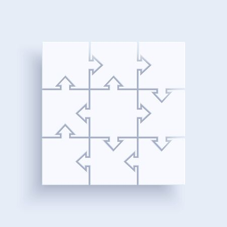 flat vector image on a light background, pieces of puzzles connected together in a square, element for infographic and design