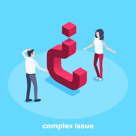 isometric vector image on a blue background, a man and a woman are looking at an inverted question mark, a difficult question or complex issue
