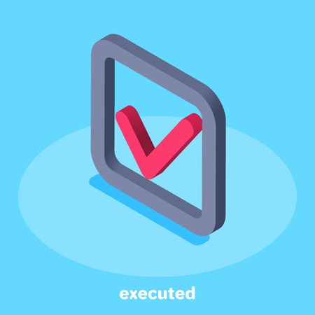 isometric vector image on a blue background, a square icon with a check mark, completed task