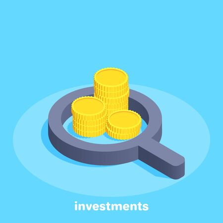 isometric vector image on a blue background, stacks of gold coins and a magnifier, search for money and investment for business