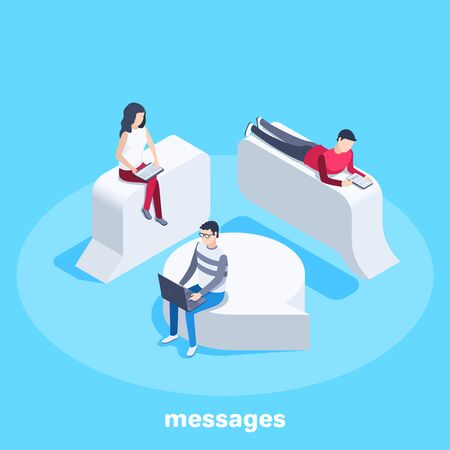 isometric vector image on a blue background, people are sitting on message bulbs and working with gadgets, sending and receiving messages and chatting online
