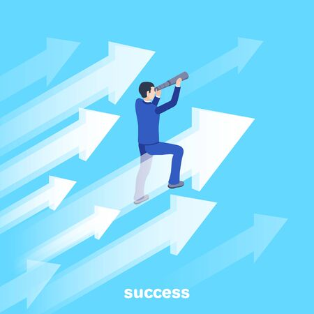 isometric vector image on a blue background, a man in a business suit sits on a flying arrow and looks through a telescope, the path to success