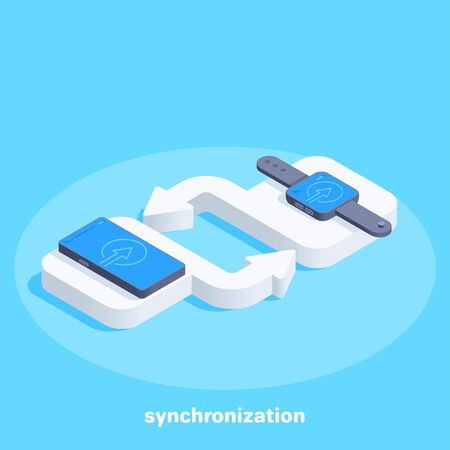 isometric vector image on a blue background, cycle icon, white pad with arrow, exchange and transition, synchronization of smartphone and smartwatch