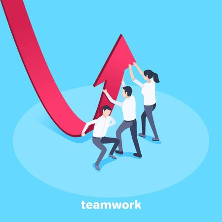 isometric vector image on a blue background, men and a woman in business clothes are changing the direction of the red arrow, teamwork for business success