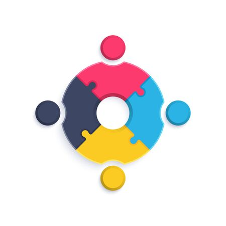 flat vector image on a white background, emblem and element for infographics in the form of a circle of puzzles, people icons connected to each other, union organisation