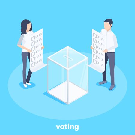 isometric vector image on a blue background, a man and a woman in business clothes holding ballots while standing by a glass box for voting