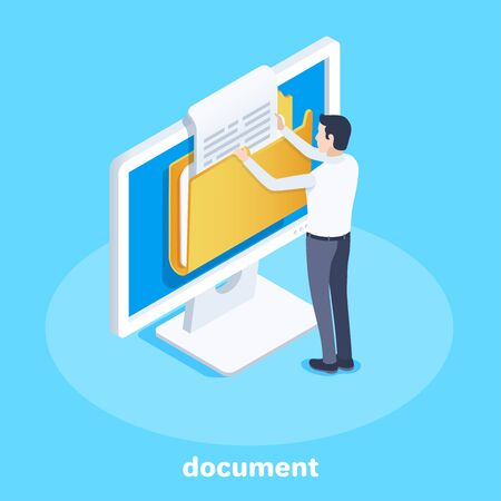 isometric vector image on a blue background, business concept, a man pulls out a document from a folder on a computer screen, office work with documentation Ilustração