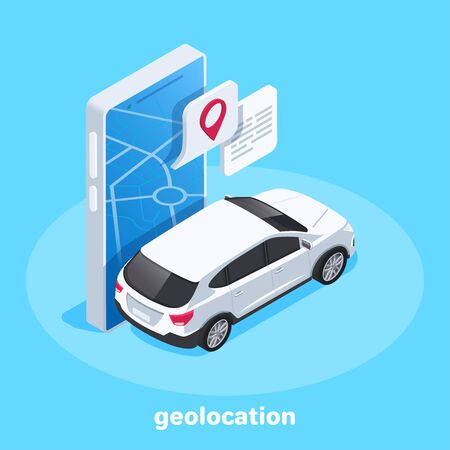 isometric vector image on a blue background, a map of the city on a large smartphone and the location icon to which the car is traveling, GPS navigation and geolocation Illustration