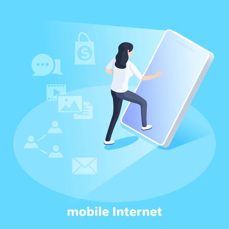 isometric vector image on a blue background, business concept, a girl goes into the screen of a smartphone, mobile internet and using a gadget Ilustração