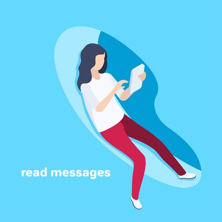 isometric vector image on a blue background, business concept, a girl reads messages on a smartphone screen while sitting in an abstract shape