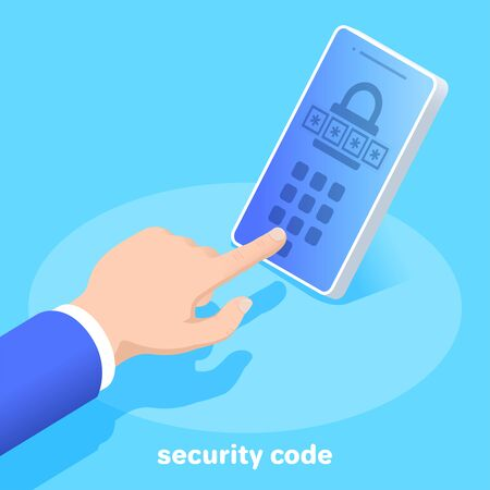 isometric vector image on a blue background, business concept, male hand enters the security code in a smartphone