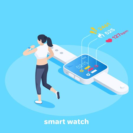 isometric vector image on a blue background, business concept, the girl jogging uses a smart watch, equipment for sports
