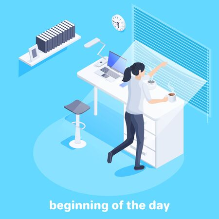 isometric vector image on a blue background, business concept, a girl looks out the window through the blinds standing at the table, the beginning of the day