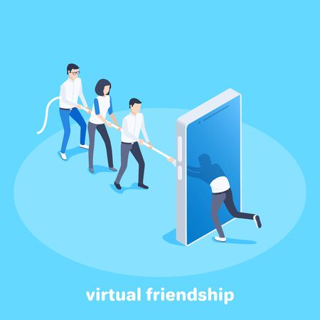 isometric vector image on a blue background, business concept, man and woman drag another man by a rope through a smartphone screen, virtual friendship