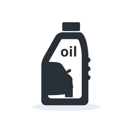 Simple automobile oil icon, a plastic bottle and car, flat vector image on a white background