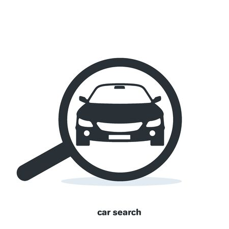 Search for a car, engine malfunction in the form of an icon with a magnifying glass, flat vector image on a white background Çizim