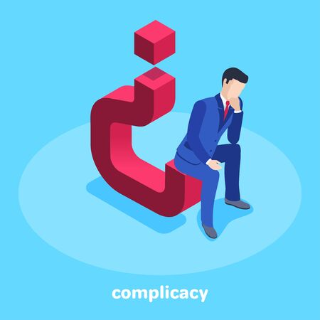 isometric vector image on a blue background, a man in a business suit sits thoughtfully on an inverted question mark, complicacy 向量圖像