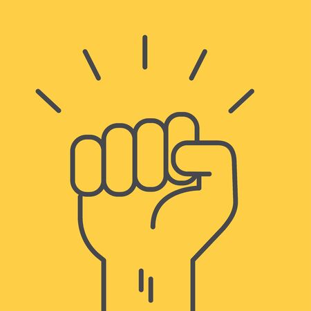 flat linear vector image on yellow background, hand with fist raised up, protest or greeting