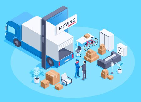 isometric vector image on a blue background, a truck in a smartphone and things with boxes for moving, moving service Illustration