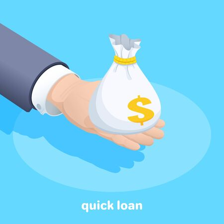 isometric vector image on a blue background, a man in a business suit holds a bag of money in the palm of his hand, quick loan