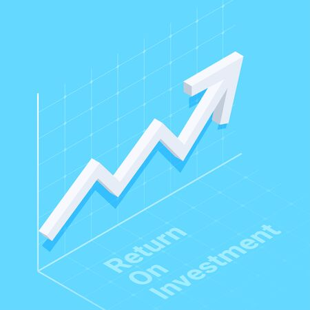 isometric vector image on a blue background, white curved arrow tends to the top, financial success and return on investment