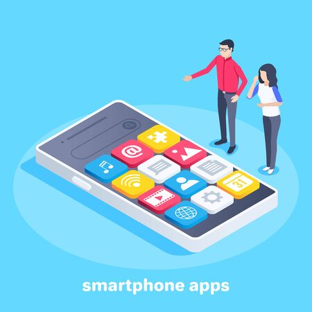 isometric vector image on a blue background, a man and a woman are standing near the smartphone, application icons on the smartphone screen