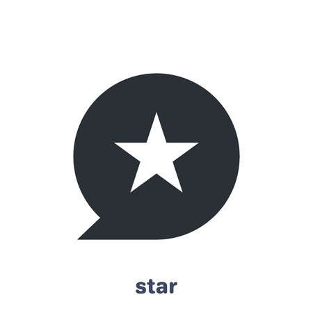 flat vector image on white background, message icon with a star in the center, like and rating