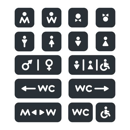 linear vector image on a white background, set of icons on the theme of toilet and WC