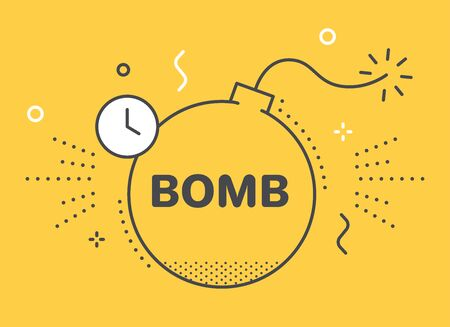 flat linear vector image on yellow background, bomb icon, stress and nerves