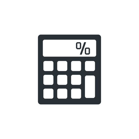 flat vector image on a white background, business icon, calculator of black color with a white button, accounting and statistics