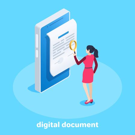 isometric vector image on a blue background, business concept,  a woman in a red dress with a magnifier stands in front of a digital document on the screen of a smartphone