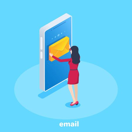 isometric vector image on a blue background, a woman in a red dress takes an envelope from a smartphone screen, reading an email