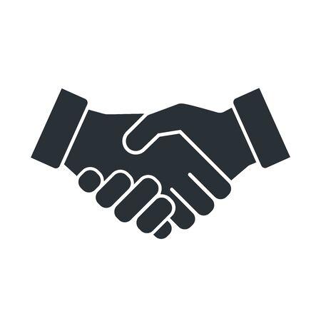 flat vector image on white background, handshake icon, business agreement and arrangement Illustration