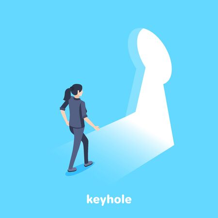 isometric vector image on a blue background, a woman in a business suit comes to the keyhole, new opportunities and knowledge