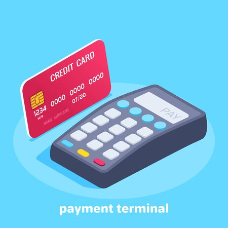isometric vector image on a blue background, credit card and payment terminal