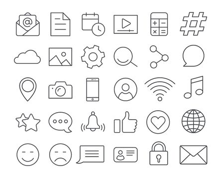 vector linear icons on a white background, set of icons on the topic of communication in social networks, chat and messages