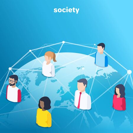 isometric vector image on a blue background, people icons connected by lines over the globe, social network Stock Vector - 132182369
