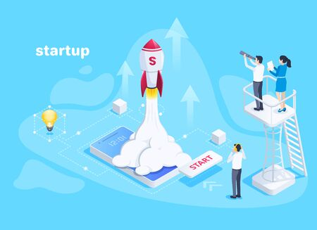 isometric vector image on a blue background, people watch a rocket take off from a smartphone screen, business startup Illustration