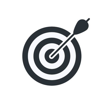 flat vector image on white background, target with arrow jutting out of it, business icon goal achievement Ilustração